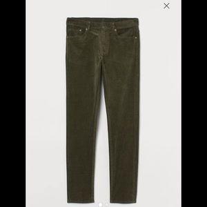 H&M Slim Corduroy Pants Dark khaki green size 12